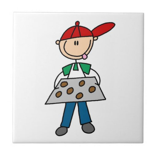 Stick Figure Baking Cookies Ceramic Tile