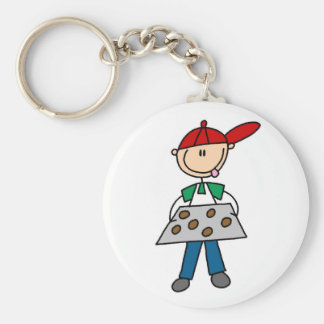 Stick Figure Baking Cookies Tshirts and Gifts Basic Round Button Key Ring
