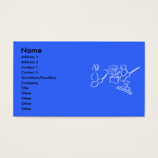 Stick figure band white outline business card