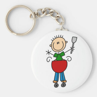 Stick Figure Barbequeing T-shirts and gifts Basic Round Button Key Ring
