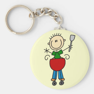 Stick Figure Barbequeing T-shirts and gifts Key Ring