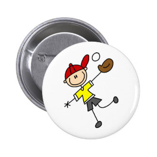 Stick Figure Baseball Button