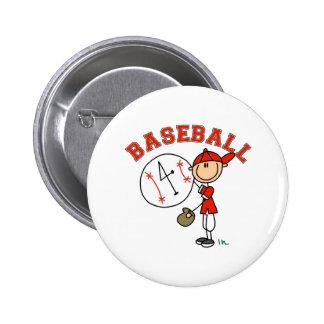 Stick Figure Baseball Button