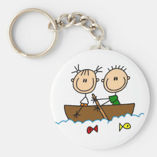Stick Figure Boat Fishing Tshirts and Gifts Basic Round Button Key Ring