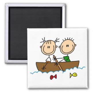 Stick Figure Boat Fishing Tshirts and Gifts Square Magnet