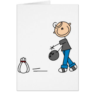 Stick Figure Bowling T-shirts and Gifts Greeting Card