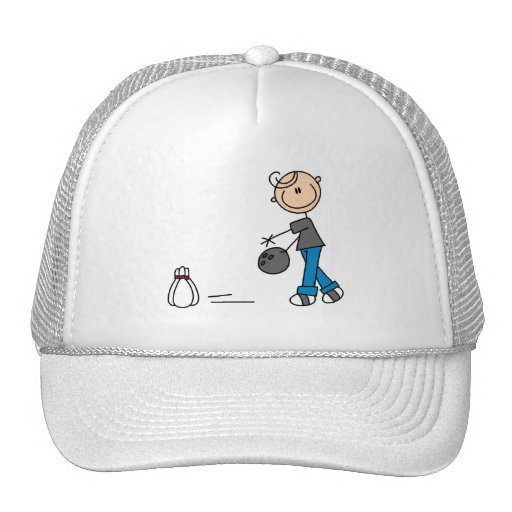 Stick Figure Bowling T-shirts and Gifts Mesh Hat