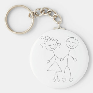 Stick Figure Boy and Girl Basic Round Button Key Ring