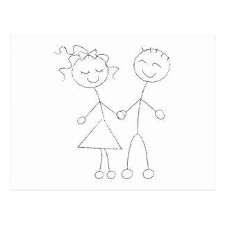Stick Figure Boy and Girl Postcard