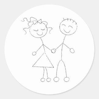 Stick Figure Boy and Girl Round Sticker