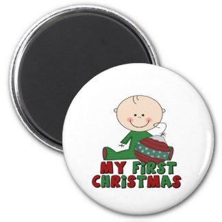 Stick Figure Boy First Christmas 6 Cm Round Magnet