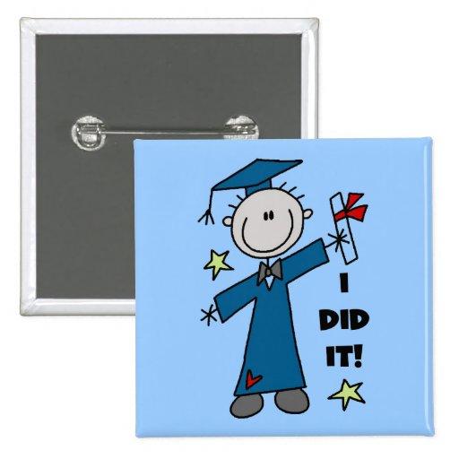 Stick Figure Boy Graduate T-shirts and Gifts Pins