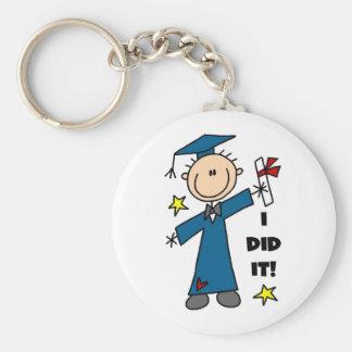 Stick Figure Boy Graduate T-shirts and Gifts Basic Round Button Key Ring