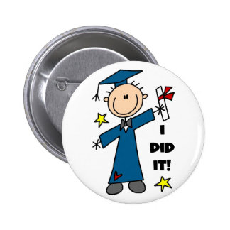 Stick Figure Boy Graduate T-shirts and Gifts Pinback Button