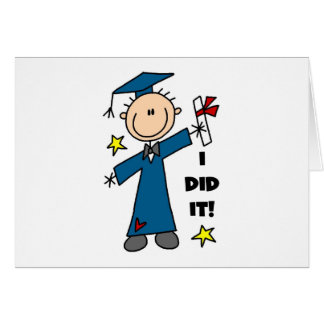 Stick Figure Boy Graduate T-shirts and Gifts Greeting Card