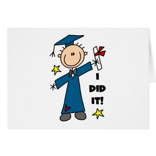 Stick Figure Boy Graduate T-shirts and Gifts Card