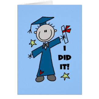 Stick Figure Boy Graduate T-shirts and Gifts Card