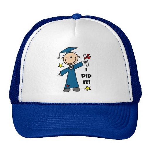 Stick Figure Boy Graduate T-shirts and Gifts Mesh Hats