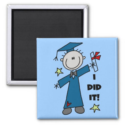 Stick Figure Boy Graduate T-shirts and Gifts Magnets