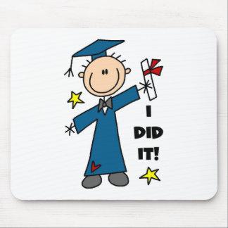 Stick Figure Boy Graduate T-shirts and Gifts Mousepads