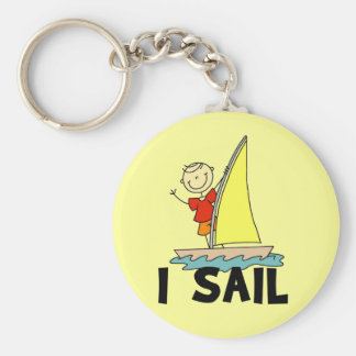 Stick Figure Boy I Sail Keychains