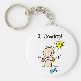 Stick Figure Boy I Swim Basic Round Button Key Ring