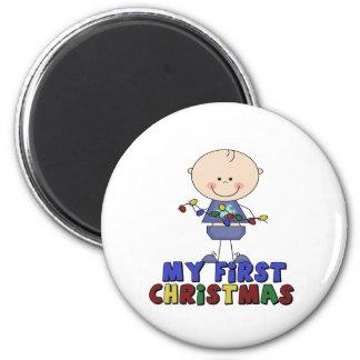 Stick Figure Boy & lights First Christmas 6 Cm Round Magnet