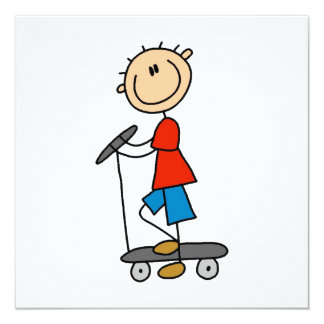 Stick Figure Boy on Scooter 13 Cm X 13 Cm Square Invitation Card