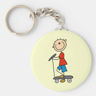 Stick Figure Boy on Scooter Basic Round Button Key Ring