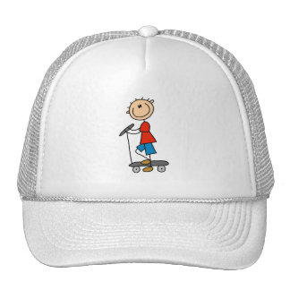 Stick Figure Boy on Scooter Mesh Hats