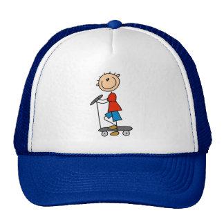 Stick Figure Boy on Scooter Trucker Hats