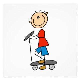 Stick Figure Boy on Scooter Invite