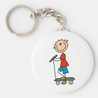 Stick Figure Boy on Scooter Keychain