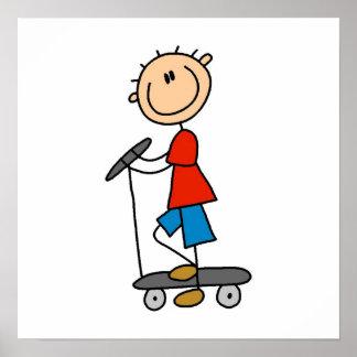 Stick Figure Boy on Scooter Print
