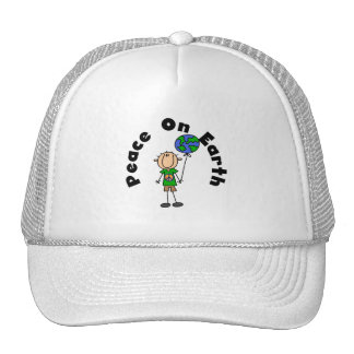 Stick Figure Boy Peace on Earth T-shirts and Gifts Hat