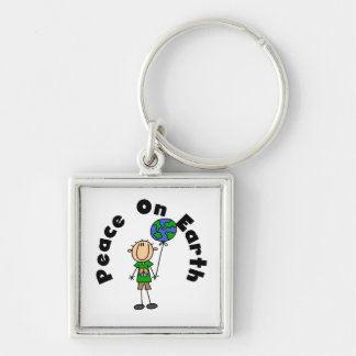 Stick Figure Boy Peace on Earth T-shirts and Gifts Silver-Colored Square Key Ring