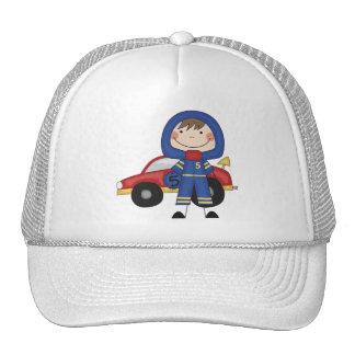Stick Figure Boy Race Car Driver Tshirts Mesh Hats