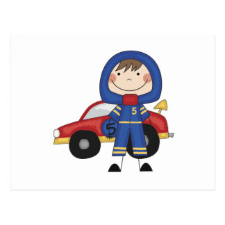 Stick Figure Boy Race Car Driver Tshirts Postcard