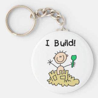 Stick Figure Boy Sand Castle Basic Round Button Key Ring