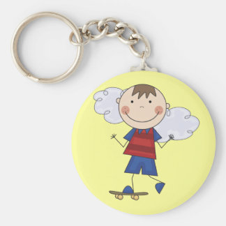 Stick Figure Boy Skateboarder Tshirts and Gifts Basic Round Button Key Ring