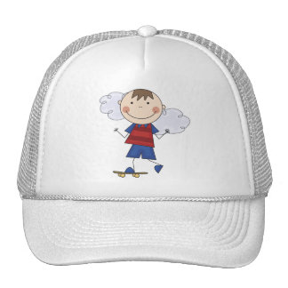 Stick Figure Boy Skateboarder Tshirts and Gifts Mesh Hat