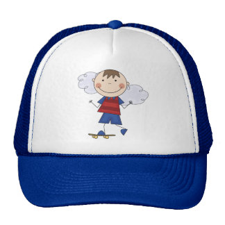 Stick Figure Boy Skateboarder Tshirts and Gifts Mesh Hats
