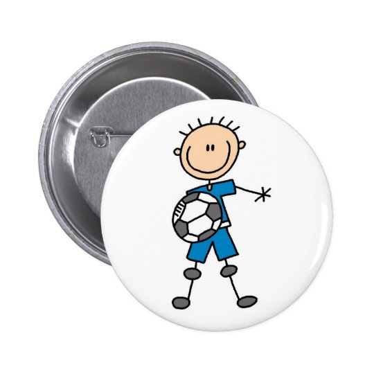 Stick Figure Boy Soccer Button