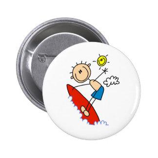 Stick Figure Boy Surfing Buttons