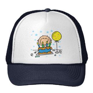 Stick Figure Boy With Birthday Cake Gifts Cap