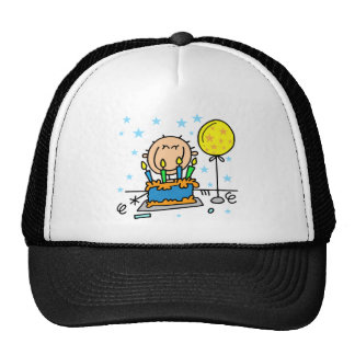 Stick Figure Boy With Birthday Cake Gifts Hat