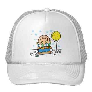 Stick Figure Boy With Birthday Cake Gifts Trucker Hats