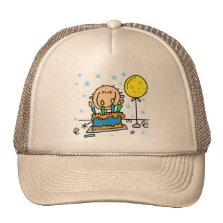 Stick Figure Boy With Birthday Cake Gifts Mesh Hats