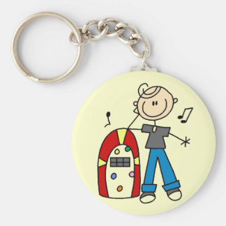 Stick Figure Boy with Jukebox Tshirts and Gifts Basic Round Button Key Ring