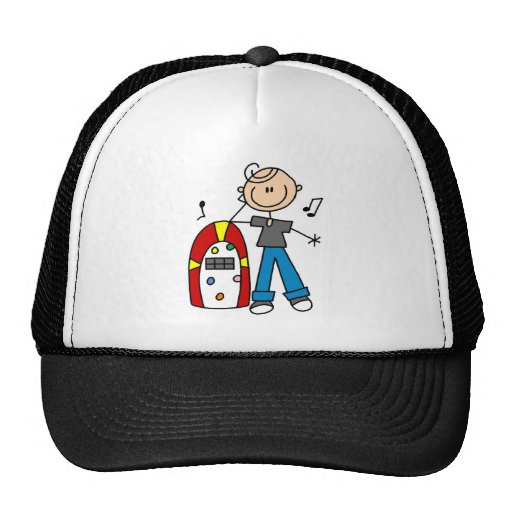 Stick Figure Boy with Jukebox Tshirts and Gifts Mesh Hat